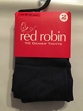 Red Robin Brand Girls Age 2-3 Years Navy Blue 70 Denier 2 Pack of Tights