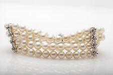 Vintage $4000 7mm Cultured Pearl .50ct VS H Diamond 4 Stand RIBBON Bracelet RARE