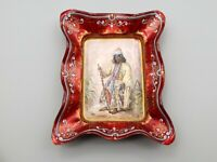 Antique Hand Painted Enamel Portrait Dish Copper Moorish Prince Victorian Signed