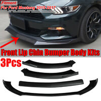 For 2015-2017 Ford Mustang Shelby Style 3pcs Front Bumper Lip Spoiler Splitter