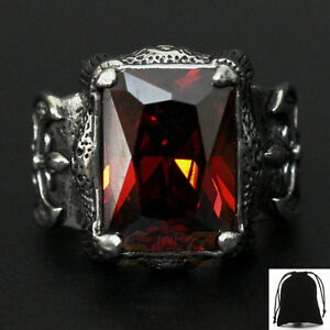 Large Vintage Dragon Claw Ruby Red CZ Cubic Zirconia Stone Ring Stainless Steel