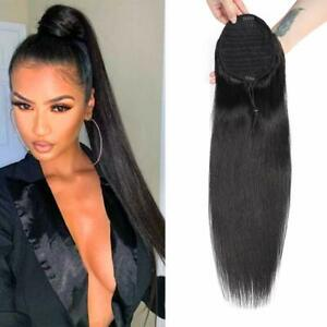 30'' Extra Long Straight Drawstring Ponytail Extension for Black Women Synthetic