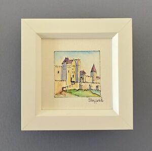 """Framed Original Miniature Watercolour """"Western Battlements""""Carcassone, France"""