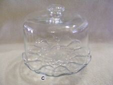 (C) CLEAR GLASS PEDESTAL SCALLOPED EDGE CAKE STAND WITH TALL DOME LID
