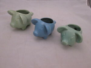 3 Stangl Matted Pig Cactus Planters Blue and Green