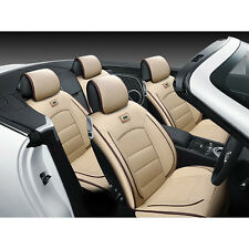 PU Leather Seat Covers Universal 5 Seats Car Sedan Front+Rear Pillows Beige Set