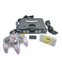 Nintendo 64 N64 OEM Console Complete Bundle w Atomic Purple Controller & Game