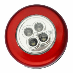 5 Pack Stick-on Push Light 4LED Battery-powered Night Light Red