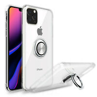 For iPhone 11 Pro Max X XS XR Clear Case Shockproof Protective Cover Ring Holder
