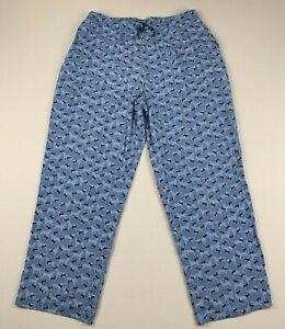 THE BLACK DOG 100% Cotton Loungewear PJ Bottom Elastic Waist Pockets Blue/Black