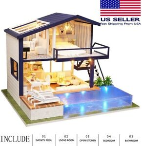 DIY Apartment/ House Dollhouse w/ Pool Miniature Kit Doll House w/ Dust Cover