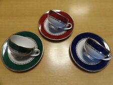 3 er Set Mokkatassen / Espressotassen  rot grün blau mit Gold