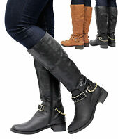 Ladies Calf Knee High Zip Up Leather Style Women Riding Biker Boots Shoes Size