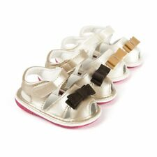 Newborn Baby Girls Summer Sandals Squeaky Soft Rubber Sole Bow First Walker