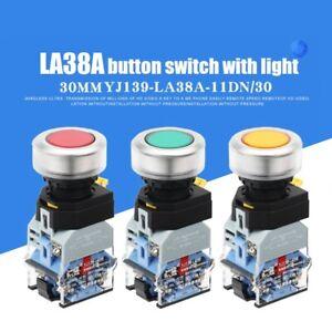 30mm Aluminum Alloy Head 1NO 1NC 10A LA38 thin flat LED light round start switch