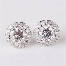 Sparkly Shiny Zircon Stone Crystal Silver Clear White Round Stud Bridal Earrings