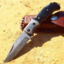 """6.5"""" Damascus Blade Folding Knife Black Handle With Leather Sheath"""