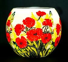 Benaya Hand Crafted Tea Light Holder Glass Classic Poppies Nightlight Gift Box