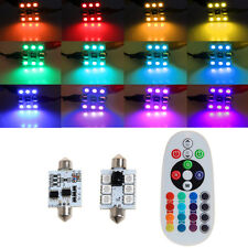 1 Pair 42mm DC 12V 5050 6 LED RGB LED Map Dome Car Interior Light+Remote Control