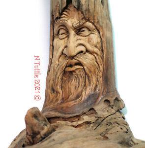 ORIGINAL WOOD SPIRIT CARVING CYNICAL SKEPTIC CURIOUS ORGANIC NATURE NANCY TUTTLE