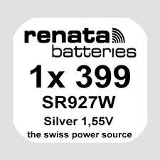 1x Renata 399 Uhren-Batterie Knopfzelle SR927W AG7 Silberoxid Blisterware Neu