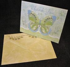 Carol Wilson Fine Arts 8 Thank You Note Cards Blank Butterfly Embossed Diecut