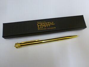 Crystal Lized Swarovski Elements Gold Tone Crown Pen - BOXED - NEW - Black ink