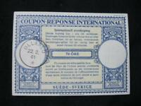 SWEDEN INTERNATIONAL REPLY COUPON USED