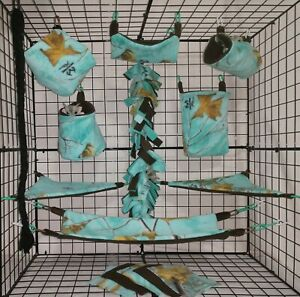 Real Tree Aquamarine  * 15 PC Sugar Glider Cage set * Rat * double layer Fleece