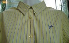 JOULES SUPER DUPER SHIRT Yellow Blue Pin Stripe Embroidered Horse Womens US 10
