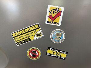 (5) Year 2000 Y2K Compliant Remember Computer Bug Sticker Assortment Retro 586