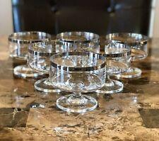 6 Vintage Dessert Wine Glasses, Cocktail Glasses, Stemmed Drinkware, Silver Rim,