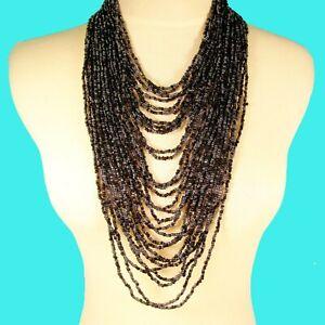 "34"" Waterfall Black Hematite Multi Strand Handmade Seed Bead Statement Necklace"
