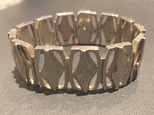 Vintage Heavy Wide Sterling Silver Bark Bracelet 20cm X2.3cm 75gm