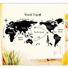World Trip Map Vinyl Quote Art Wall Sticker DIY Removable Decal Home Decor Mural