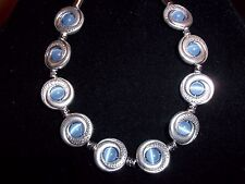 Tibetan SILVER Blue CATS EYE Bead Bracelet MAGNETIC Clasp A-15 Quality Jewelry