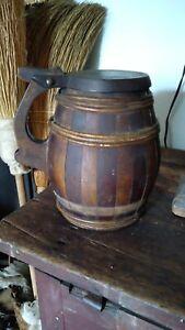 "Antique Early Folk Art Wood Tankard Noggin Pitcher Pennsylvania Dutch Hex 8"""