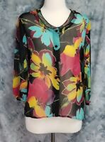 Soft Surroundings Womens sz S Black Blue Pink Floral Silk Sheer Button Blouse