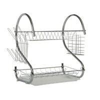 2 Tier Dish Drainer Stainless Steel Draining Holder Plate Rack For Kitchen Sink