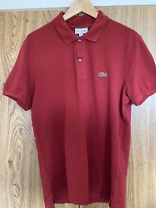 LACOSTE Mens Polo Shirt US L / Size 5 Burgundy Cotton Slim Fit