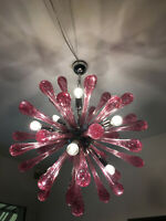 rare Ruby murano glass color SPUTNIK CHANDELIER CEILING LAMP