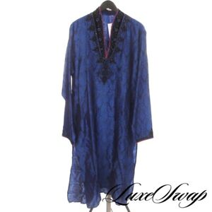 INCREDIBLE Royal Sapphire Blue Damask Brocade Crystal Embroidered Indian Tunic