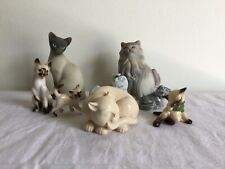 8 Vintage Cat/Kitten Figurines Signed/Unsigned Avon, The Franklin Mint, etc.