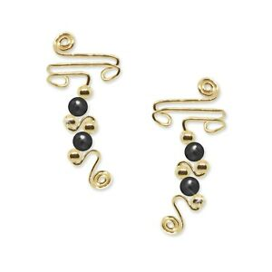 Ear Wraps Cuffs Climbers Crawlers Earring Gold with Hematite Gemstone Beads #142