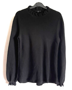 COS Black Wool Knit Jumper Sweater Pullover Gothic Frilled High Neck Upcycled 10