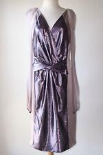ALBERTA FERRETTI Lilac Silk Sheer Sleeve Metallic Twist Front Dress 44 8