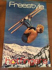 Vintage 1970S NICE HOTFINGERS FREESTYLE Ski Poster TOPLESS sexy girl skier RARE