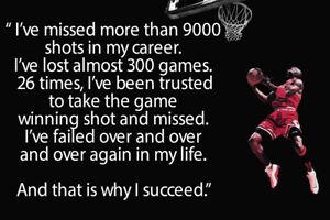 Michael Jordan Quote Art Wall Indoor Room Outdoor Poster - POSTER 24x36