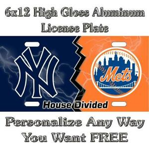 House Divided Yankees Mets Sign Custom Monogram License Plate Auto Car Tag Perso