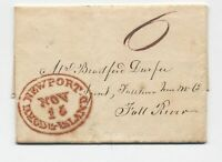 1824 Newport RI large red oval handstamp stampless letter [5246.353]